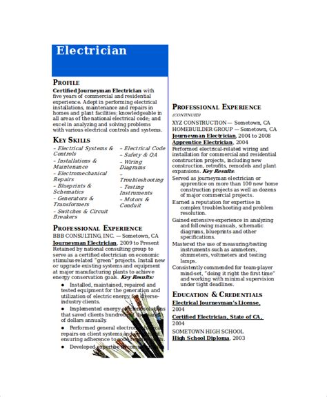 Electrician Resume Template 5 Free Word Excel Pdf Documents Download Free Premium Templates Electrician Resume Template Microsoft Word