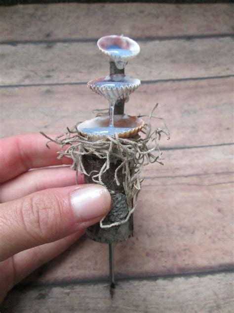 fairy garden miniature fieldstone fountain garden seashell water miniature using resin for water effect shire