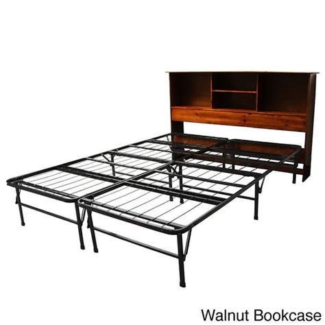 bed frame with bookcase headboard durabed queen size steel foundation frame in one