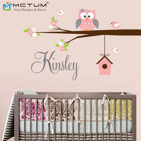 childrens personalised wall stickers aliexpress buy personalized owl birds name monogram