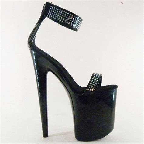 8 inch platform high heels black shoes 8 inch rhinestone stiletto heels 20cm