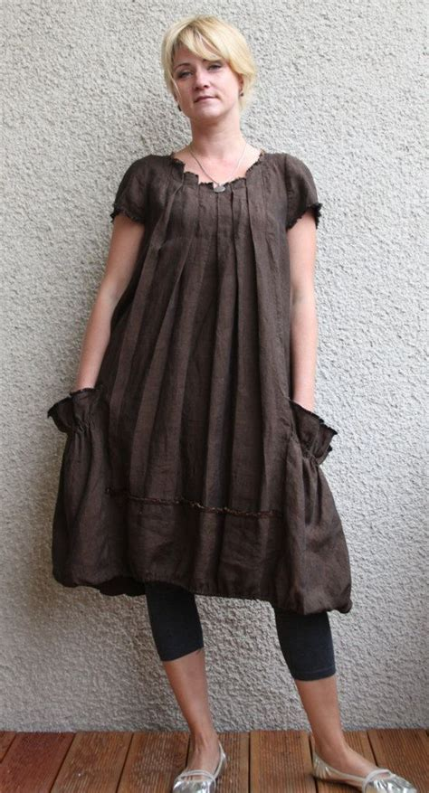 brown pattern tunic brown linen dress tunic
