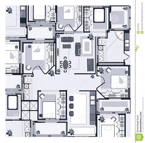 1 Schlafzimmer Haus Plan by Grauer Haus Plan Vektor Abbildung Illustration