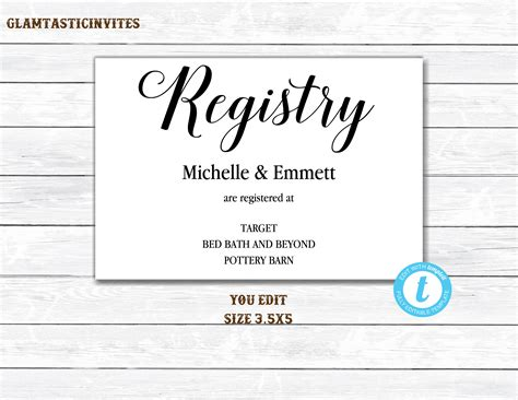 free customizable registry card template registry card registry card template printable registry