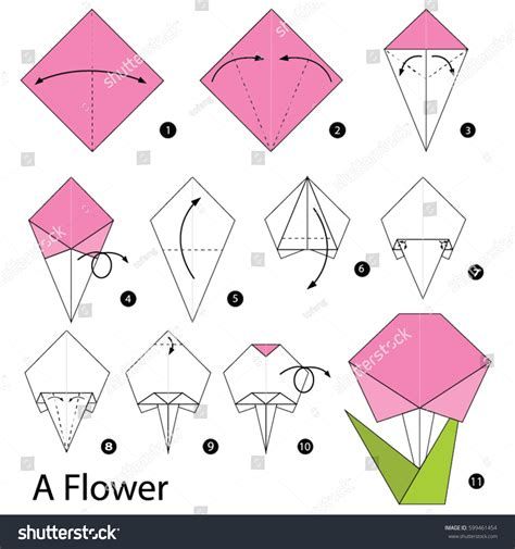 Origami Terminology - step by step how make stock vector 599461454