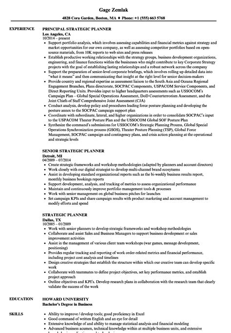 strategic planning resume exles strategic planner resume sles velvet