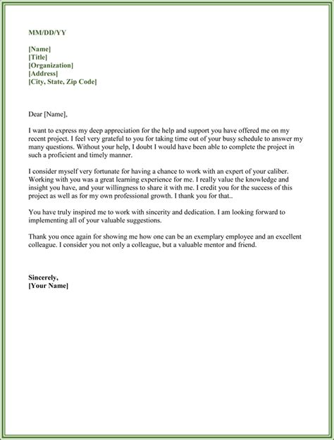 appreciation letter colleague thank you for your help letter exles yahoo image