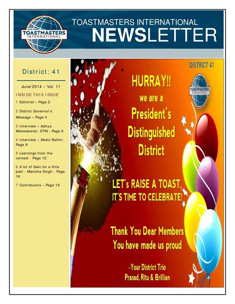 District 41 E Newsletter June 2014 Vol 11 By Toastmasters District 41 Issuu Toastmasters Newsletter Template