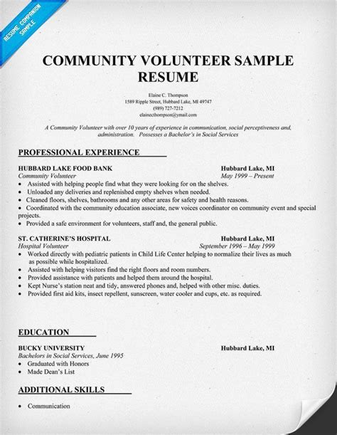 community volunteer resume exle community volunteer resume sle http resumecompanion resumes resume