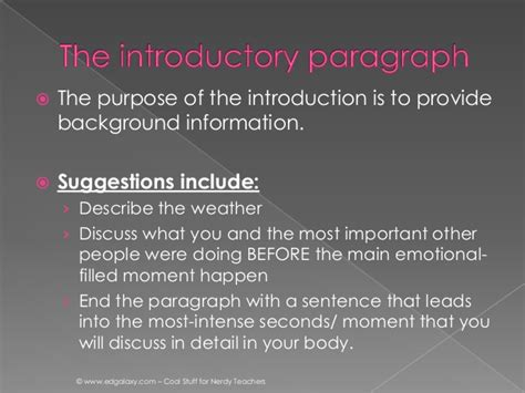 Introduction Of Narrative Essay by Personal Narrative Writing The Introduction