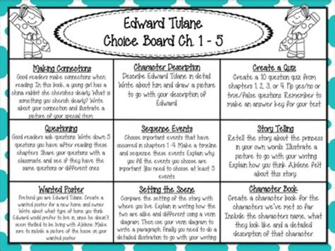 stories from the classroom a s journey books the miraculous journey of edward tulane reading choice boards