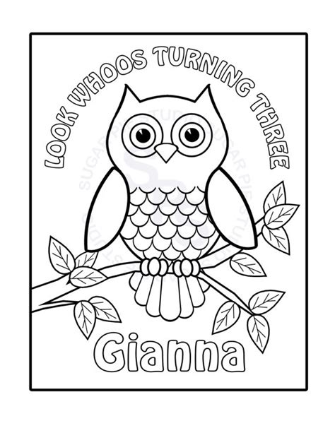 owl coloring pages pdf personalized printable owl birthday party favor childrens