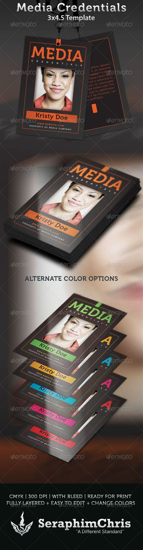 Media Credentials Template Fonts Colors And Photoshop Media Pass Template Photoshop
