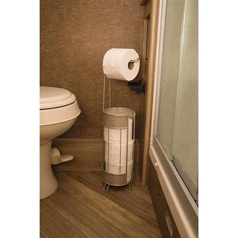 rv bathroom accessories roll stand plus wood finish interdesign 90176 bathroom accessories cing world
