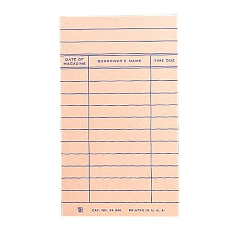 Library Due Date Cards Template by Brodart Magazine Date Due Cards