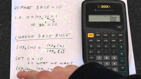 calculator log2 ti 30xa how to change log base log base 2 exle youtube