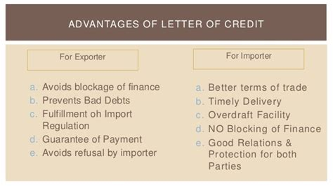 Clean Advance Letter Of Credit Export Pricing And Methods Of Payment