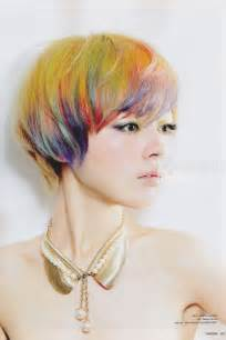 Really cute yellow hair with rainbow streaks featured in japanese