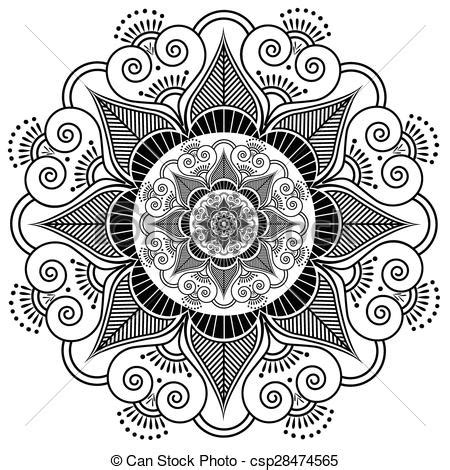 indian henna tattoo flower pattern clip art vector