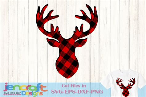 deer antlers and plaid for christmas buffalo plaid reindeer svg deer svg antlers buck