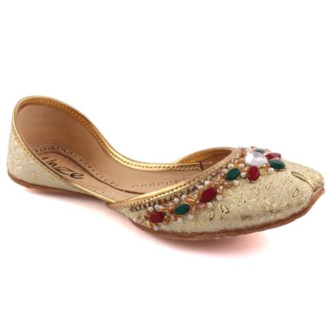 indian slippers unze veda indian khussa slippers uk size 3 8 gold ebay
