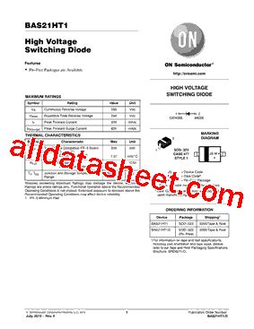transistor ht china bas21ht1 데이터시트 pdf on semiconductor