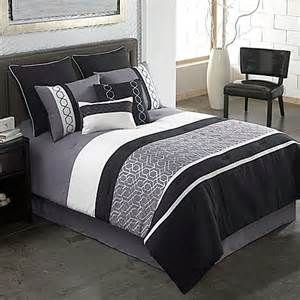 covington 8 comforter set in grey black bed bath