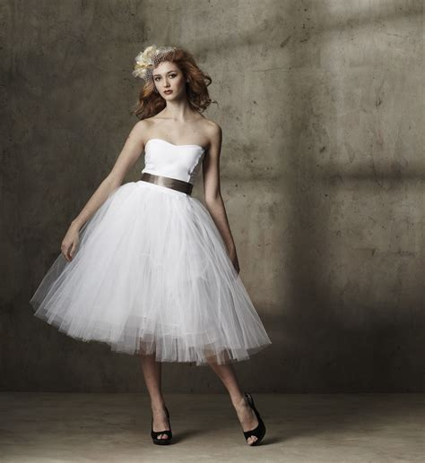 Tulle Wedding Dresses by Tea Length Wedding Dress Tulle Strapless Onewed