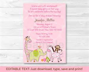 safari jungle animal printable baby shower invitation editable pdf ebay