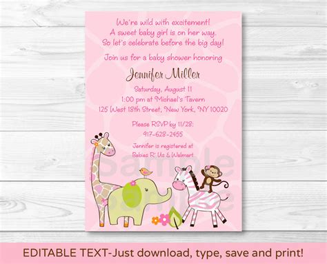Safari Girl Jungle Animal Printable Baby Shower Invitation