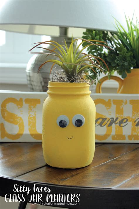 diy crafts with jars diy silly faces glass planters inspiration made simple