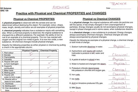 Chemical Vs Physical Change Worksheet by Physical Chemical Properties Worksheet Resultinfos