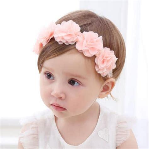 new baby flower headband pink ribbon hair bands handmade diy headwear hair accessories for