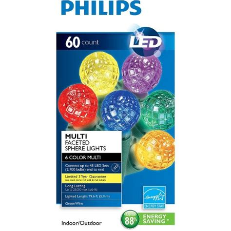 philips 60 sphere lights philips 60ct multi led faceted sphere string lights