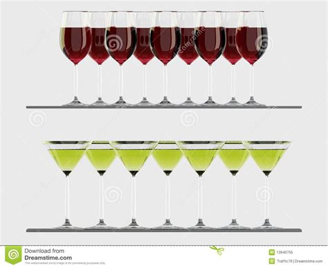 On The Shelf Glasses by Wine And Martini Glasses On The Shelf Royalty Free