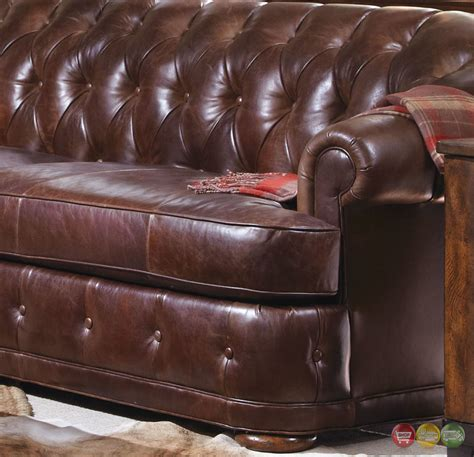 chesterfield tufted leather sofa kennedy button tufted walnut genuine leather chesterfield sofa