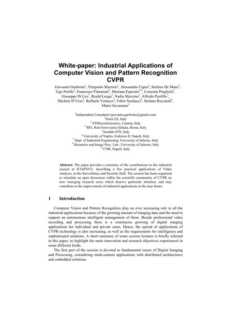 pattern recognition and image analysis pdf download white paper on industrial applications of computer vision