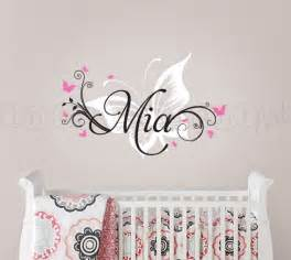Baby Name Wall Stickers Butterfly And Custom Name Wall Decal Butterfly Nursery