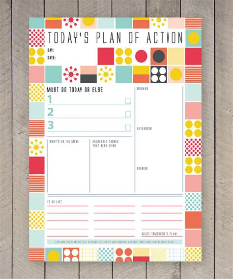 free printable day planner organizer printable day planner family organiser mid century colourful