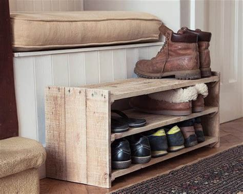 diy shoe racks diy upcycled pallet shoe rack pallet furniture diy
