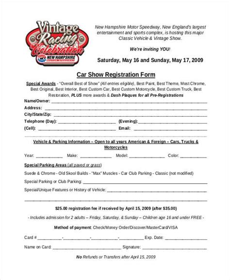 free car show registration form template registration form templates