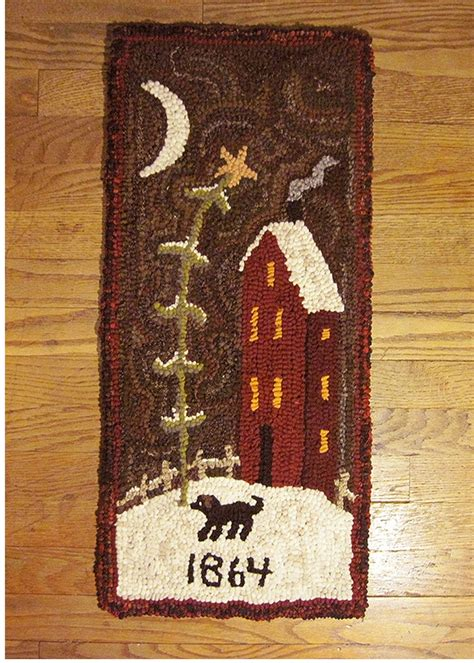 Saltbox Rug Hooking by Primitive Folk Wool Hooked Rug 1864 Saltbox House Ebay