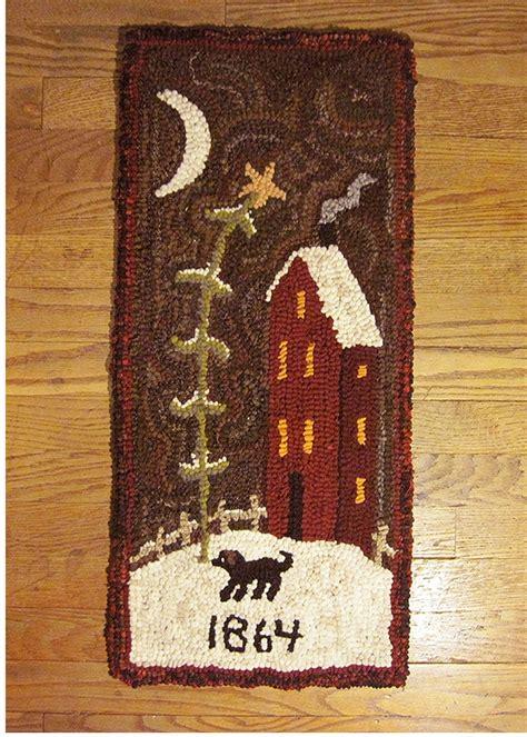 saltbox rug hooking primitive folk wool hooked rug 1864 saltbox house ebay sold 128 00 2 hooked rugs underfoot