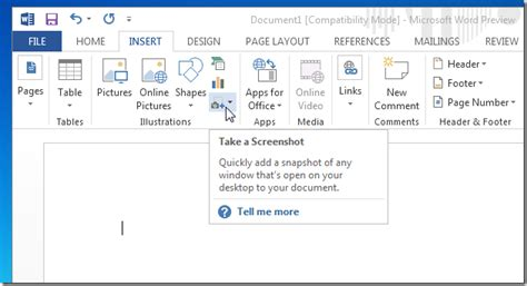 take a snapshot how to take screenshots with ms word 2013 wml cloud