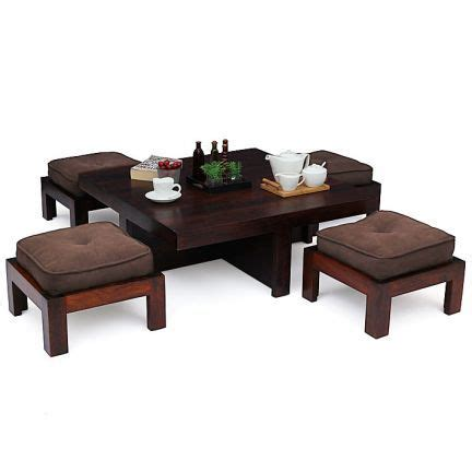 cocktail table with 4 benches a stylish and practical wooden coffee table set for all
