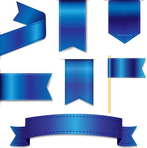 Blus Ribbon blue ribbon tag sticker vector vector ribbon free