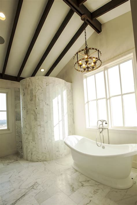 Jeff Lewis Bathroom Design by Sloped Ceiling With Wood Beams Design Ideas