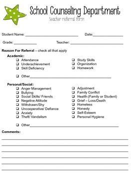 Editable School Counseling Teacher Referral Form Teacher Counselling And School Student Referral Form Template