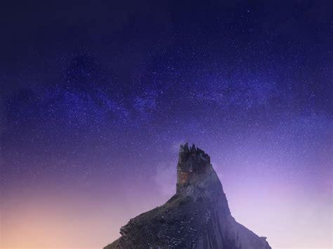desktop wallpaper castle hill mountains stars night