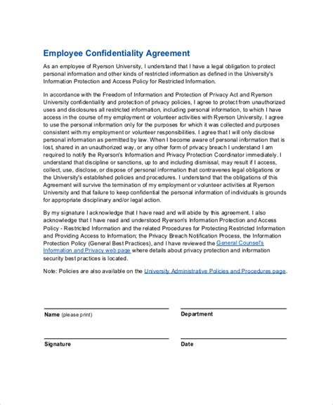 Offer Letter Confidentiality Clause Sle Employee Confidentiality Agreement 7 Documents